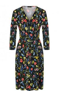 Приталенное мини-платье с V-образным вырезом и цветочным принтом Escada
