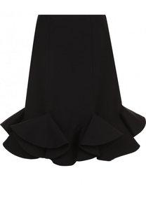 Однотонная мини-юбка из смеси шерсти и шелка с оборками Valentino
