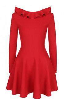 Однотонное мини-платье с оборкой и открытой спиной Valentino