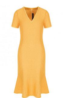 Однотонное платье с V-образным вырезом и бахромой St. John