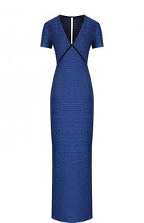 Платье-макси с V-образным вырезом и разрезом St. John