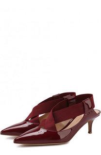 Лаковые туфли с эластичными лентами на каблуке kitten heel Gianvito Rossi