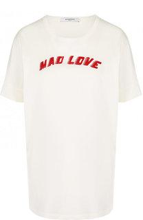 Хлопковая футболка с круглым вырезом и надписями Givenchy