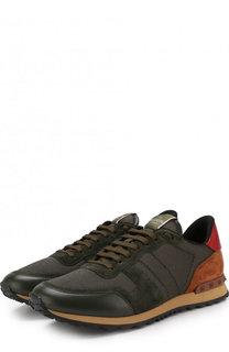 Комбинированные кроссовки Valentino Garavani Rockrunner на шнуровке Valentino