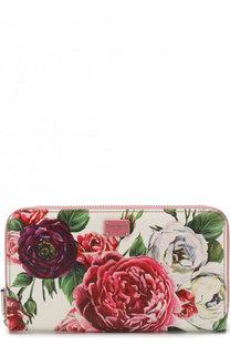 Кожаный кошелек с цветочным принтом и тиснением Dauphine Dolce & Gabbana