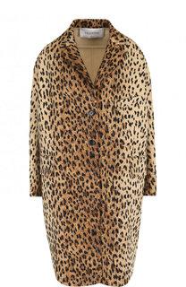 Шерстяное пальто с леопардовым принтом Valentino