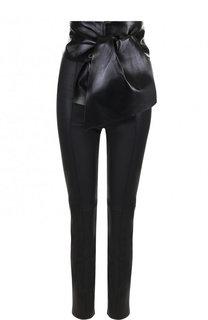 Кожаные брюки с завышенной талией Valentino