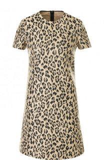 Мини-платье с круглым вырезом и леопардовым принтом Valentino