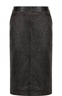 Кожаная юбка на молнии с карманами Givenchy