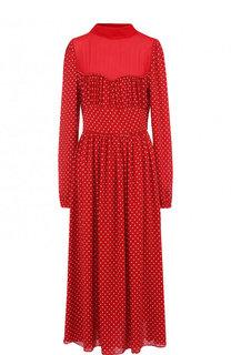 Шелковое платье-миди в горох с воротником-стойкой Valentino
