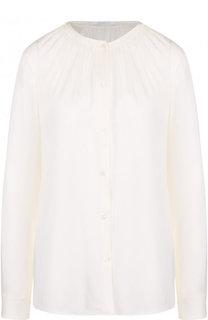 Однотонная шелковая блуза с воротником-стойкой BOSS