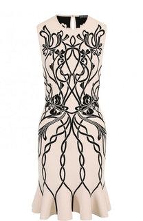 Приталенное мини-платье с круглым вырезом и принтом Alexander McQueen
