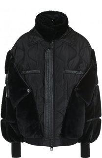 Однотонная куртка с воротником-стойкой и кожаной отделкой Tom Ford