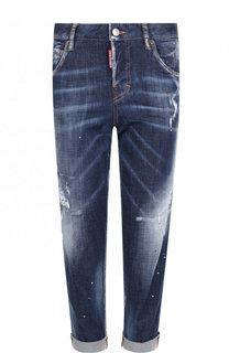 Укороченные джинсы прямого кроя с потертостями и отворотами Dsquared2
