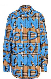 Хлопковая блуза в клетку с контрастными надписями Burberry