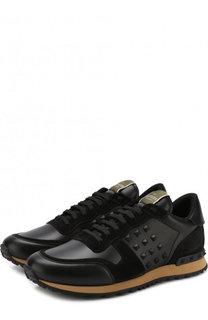 Кожаные кроссовки Valentino Garavani Rockrunner на шнуровке Valentino