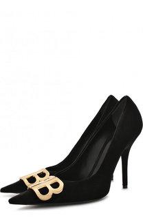 Замшевые туфли BB с пряжкой на шпильке Balenciaga