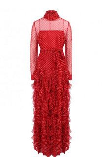 Шелковое платье-макси с поясом и воротником аскот Valentino