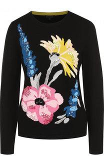 Шерстяной пуловер с круглым вырезом и декоративной отделкой Escada