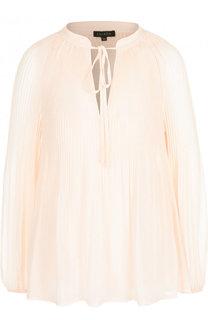 Однотонная плиссированная блуза свободного кроя Escada