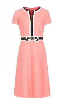 Приталенное платье с контрастной отделкой Escada