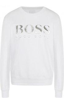 Хлопковый пуловер с логотипом бренда BOSS