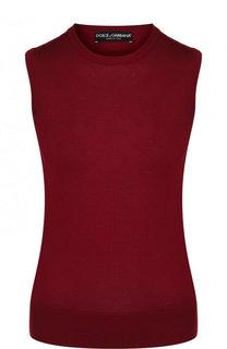 Однотонный шелковый топ с круглым вырезом Dolce & Gabbana