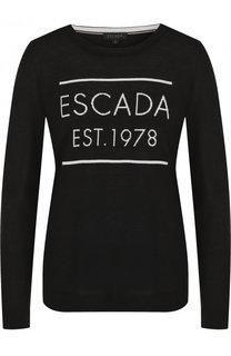 Шерстяной пуловер с круглым вырезом и логотипом бренда Escada