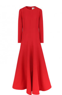 Однотонное платье-макси из смеси шерсти и шелка Valentino