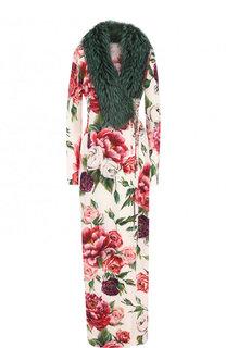 Шелковое пальто с отделкой из меха лисы Dolce & Gabbana
