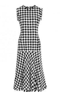 Приталенное платье-миди из смеси шерсти и вискозы с бахромой Oscar de la Renta