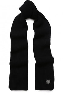 Шерстяной шарф с логотипом бренда Stone Island