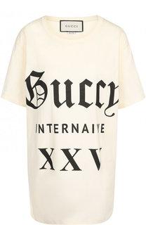 Хлопковая футболка с круглым вырезом и принтом Gucci