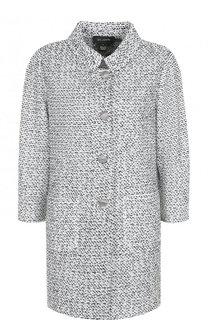 Пальто из смеси шерсти и вискозы с накладными карманами St. John