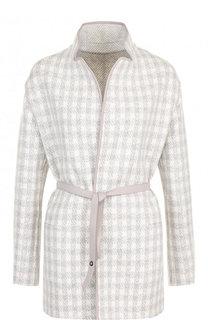 Кашемировое пальто с кожаной отделкой и поясом Loro Piana