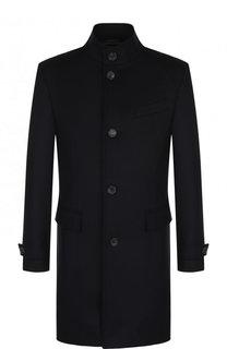 Однобортное пальто из смеси шерсти и кашемира с воротником-стойкой BOSS