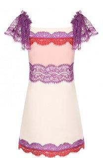 Мини-платье из смеси шерсти и шелка с кружевной отделкой Emilio Pucci