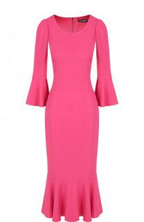 Однотонное платье-миди с круглым вырезом Dolce & Gabbana