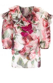 Шелковая блуза с оборками и принтом Dolce & Gabbana