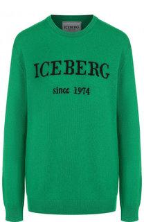 Кашемировый пуловер с круглым вырезом и логотипом бренда Iceberg