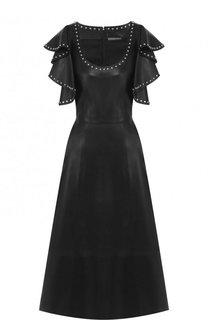 Кожаное платье с декоративной отделкой и оборками на рукавах Alexander McQueen