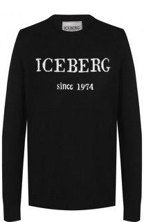 Кашемировый пуловер с логотипом бренда Iceberg