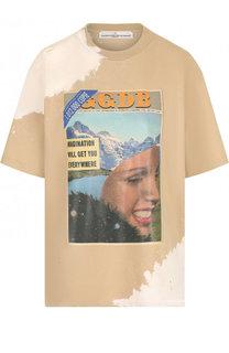 Хлопковая футболка с круглым вырезом и принтом Golden Goose Deluxe Brand