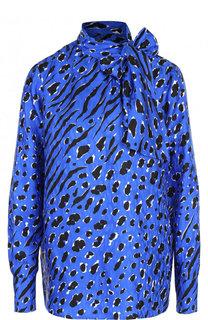 Шелковая блуза с принтом и воротником аскот Valentino