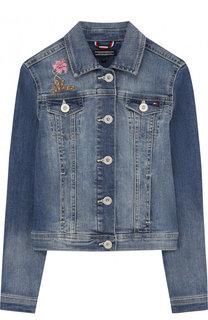 Джинсовая куртка с вышивкой Tommy Hilfiger