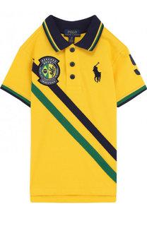 Хлопковое поло с логотипом сборной Бразилии Polo Ralph Lauren