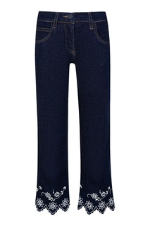 Темно-синие джинсы с отделкой Fendi Children