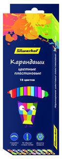 Карандаши цветные Silwerhof 134212-18 Цветландия шестигран. пластик 18цв. коробка/европод.