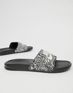 Черные шлепанцы с принтом Nike Benassi JDI 631261-006 - Черный