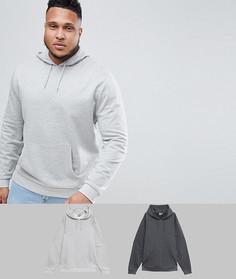Набор из 2 худи (темно-серый/ серый меланжевый) ASOS DESIGN Plus - Мульти